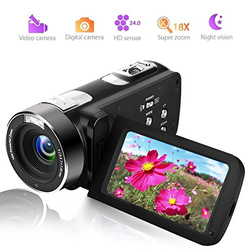 Camcorder Video Camera Camcorders Full HD Digital Camera 1080P 24.0MP Vlogging Camera Night Vision Pause Function with Remote Controller