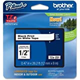 "Brother P-Touch PT-1280 Label Tape (OEM) 0.47"" Black Print on White"