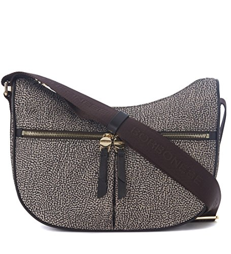 Borsa a tracolla Borbonese Luna Bag Small in nylon OP marrone