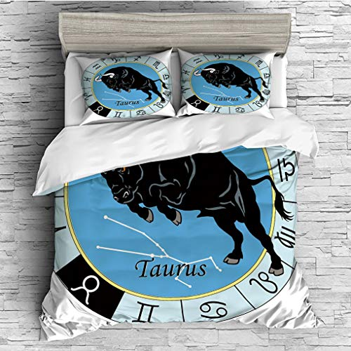 3 Pieces (1 Duvet Cover 2 Pillow Shams)/All Seasons/Home Comforter Bedding Sets Duvet Cover Sets for Adult Kids/Queen/Taurus,Zodiac Calendar with Bull inside Celestial Creature Character Esoteric Prin