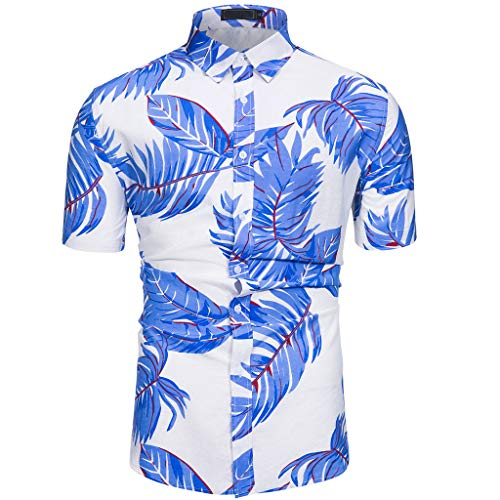 Reef Dress Costa - NUWFOR Men's Summer Fashion Maple Leaf Hawaiian Style Short-Sleeved Shirts (Blue,US: XL Chest:47.24'')