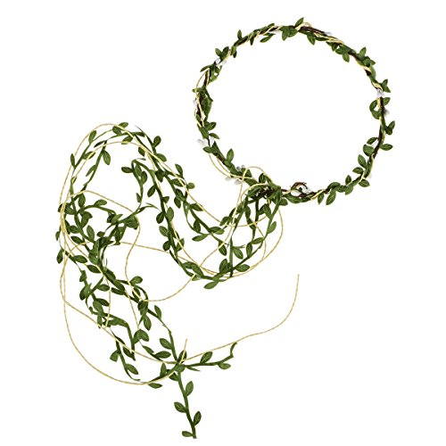 Floral Fall Adjustable Bridal Flower Garland Headband Flower Crown Hair Wreath Halo F-83 (Y-Green White Tail)