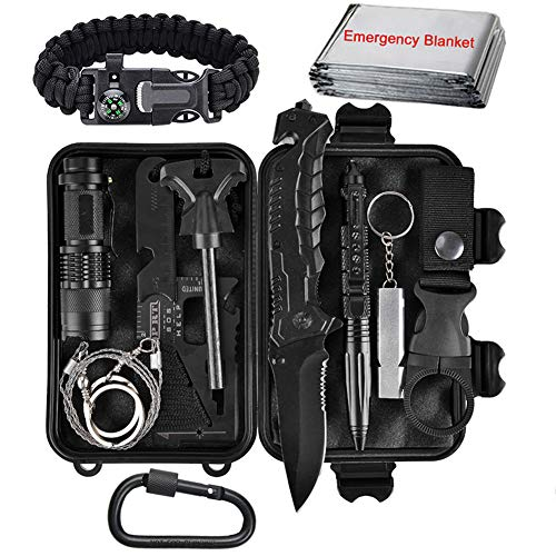 (XUANLAN Emergency Survival Kit 13 in 1, Outdoor Survival Gear Tool with Survival Bracelet, Fire Starter, Whistle, Wood Cutter, Water Bottle Clip, Tactical Pen for Camping, Hiking, Climbing)