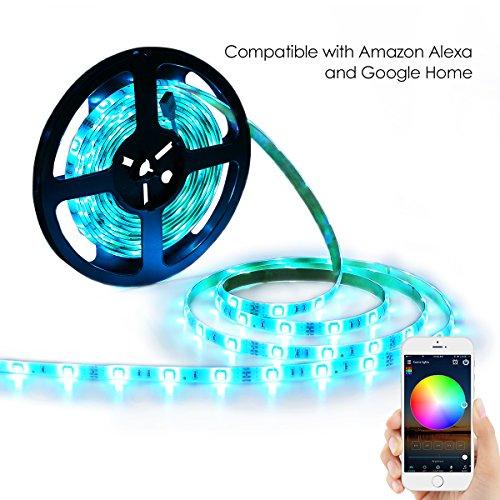YiHong LED Light Strip RGB Strip Lights LED Tape Lights Compatible with Alexa and Google Home 150 5050 SMD LEDs Smart Wifi Strip Lights