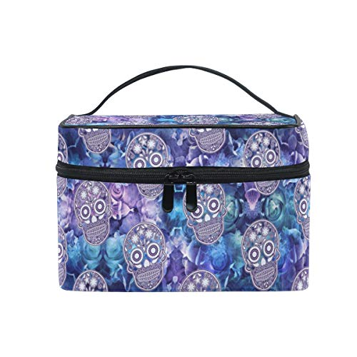 (ZOEO Sugar Skull Makeup Train Case Purple Rose Korean Carrying Portable Zip Travel Cosmetic Brush Bag Organizer Large for Girls Women Valentine's)