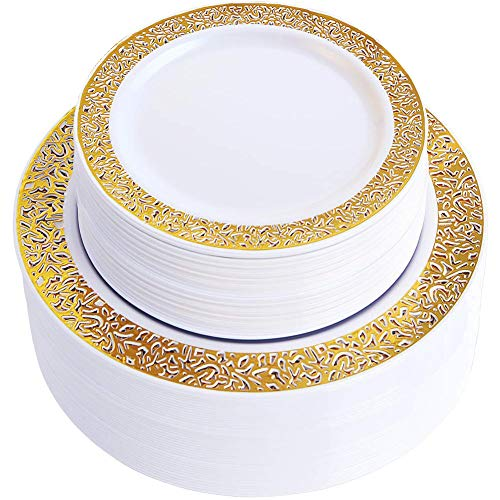 WDF 102pcs Gold Disposable Plastic Plates -Lace Design Wedding Party Plastic Plates include 51 Plastic Dinner Plates 10.25inch,51 Salad/Dessert Plates 7.5inch (Gold Lace Plates) ()