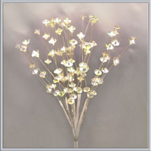 Crystal Sprays Acrylic Clear Iridescent Pack of 24 stems (Picks Flower Crystal)