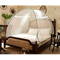 شبكة ناموسية كلاسيكية قابلة للطي لسرير مزدوج 180 × 200سم، بوليستر - أزرق