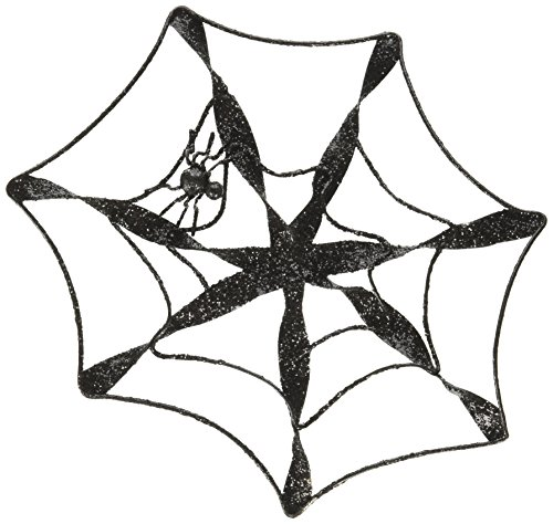 Blossom Bucket Spider Web with Hanging Black Spider Ornament Christmas Decor, 8-1/4 by (Spider Christmas Ornament)