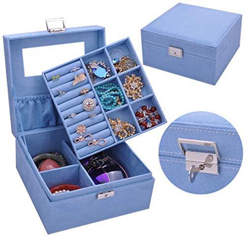 KIKISHOPQ Girl Jewelry Box Storage Jewelry Holder, Gift for Organizer Portable Travel Case(Blue2 One Size)