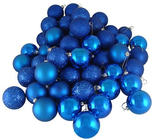 Wish you have a nice day 1.57inch Christmas Ornaments Ball,21pcs Mini Shatterproof Satin Shiny and Glitter Finish Bulb (Blue, 4cm)