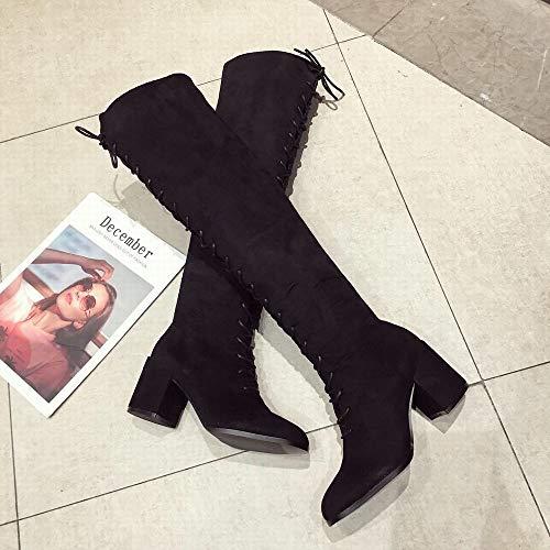 Size Black Avec Lieyliso Hauts Bottes À Lanières En Talons color Croisées 35 Daim Chevalier De Brown OZwprqgO