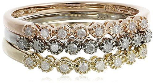 10k Multi-Colored Gold Diamond Stack Ring (1/4 cttw, H-I Color, I2-I3 Clarity), Set of 3, Size 6 (Gold Diamond Stack Ring)