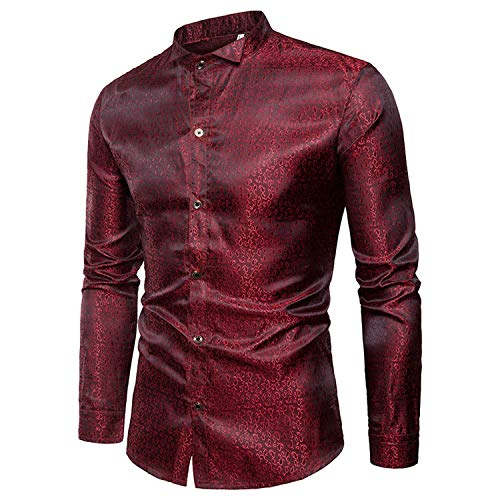 2019 New Men's Shirt Bright Color Style Tadpole Decorative Pattern Fashion Casual Men Long-Sleeved Shirt,Red,Asian Size XL