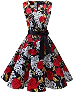 Bridesmay Women's Classy V-Neck Audrey Hepburn 1950s Vintage Rockabilly Swing Dress