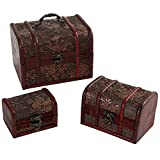 Set of 3 Antique Style Detailed Wood Nesting Storage Boxes w/ Hasp Latch / Small Jewelry Organizer Chests
