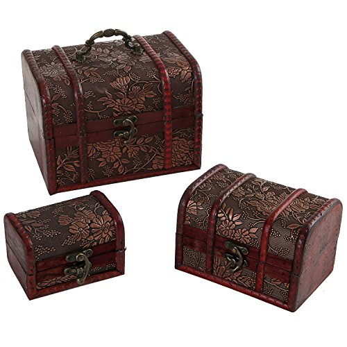 Set of 3 Antique Style Detailed Wood Nesting Storage Boxes w/ Hasp Latch / Small Jewelry Organizer Chests (Small Nesting Box)