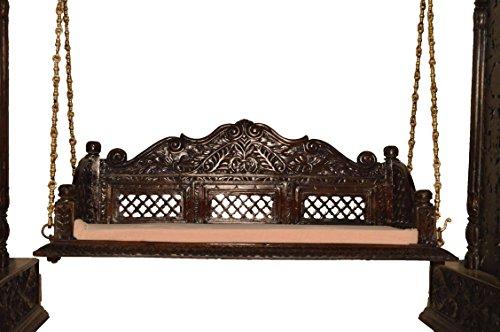 Jali flower design wooden carved royal swing set indoor for Garden jhoola designs