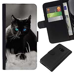 HTC One M7 , la tarjeta de Crédito Slots PU Funda de cuero Monedero caso cubierta de piel ( Cute Black Cat Siamese White Pet Kitten)