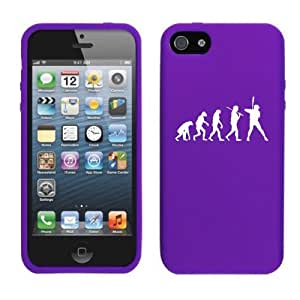 Apple iPhone 4 4s Silicone Soft Rubber Skin Case Cover Evolution Baseball (Purple)