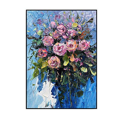 JASMINE CURTIS 100% Hand Painted Abstract Flowers Art Oil Painting On Canvas Wall Art Wall Adornment Pictures Painting for Live Room Home Decor YT-7,(60X90cm) 24X36inch,A