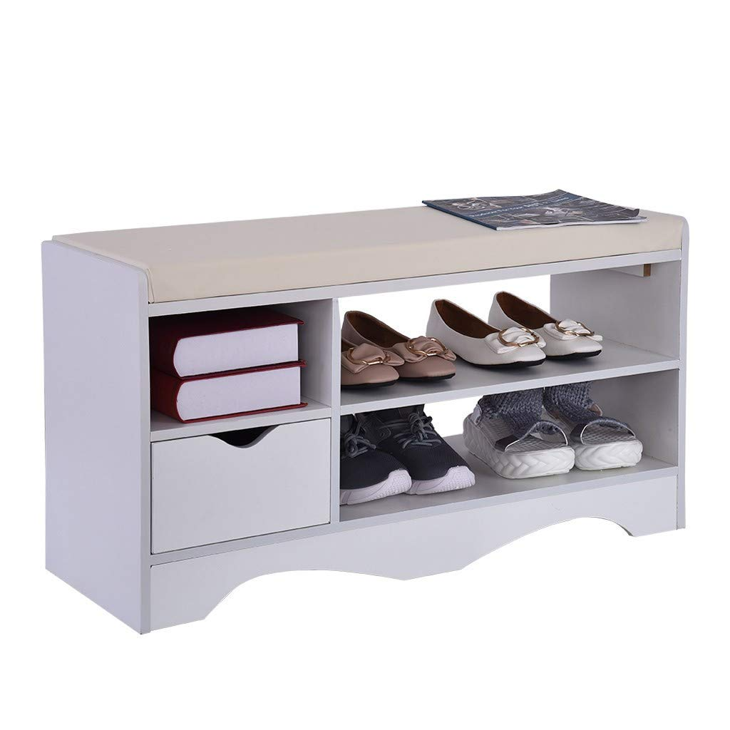 Storage Bench Shoes Rack W/Removable Seat Cushion Entryway Shoe Cabinet Storage, 2-Tier & 1- Hidden Compartment - 31.5 x 11.8 x 16.9 inches by Toonshare