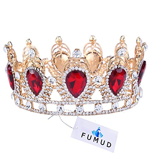 Crowns For Kings And Queens (Amazing King/Queen Crown Simulated Red Ruby Stone Sapphire Water Drop Tiaras (Red))