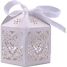 DriewWedding 50PCs Wedding Bridal Favor Gift Boxes, Laser Cut Hollow Gift Wrap Boxs Bag with Ribbon Party Decor Kit Treat Box Chocolate Candy Wrappers Holders (White)