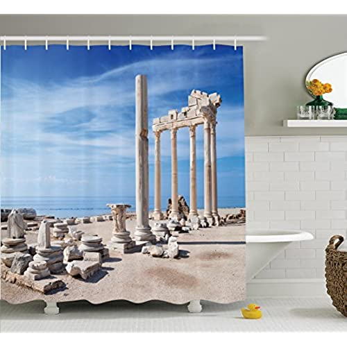 Ambesonne Home Decor Collection, Ancient Greek Temple With Clouds Greek  Mythical Gods Ruins Europian Heritage Decorative, Polyester Fabric Bathroom  Shower ...