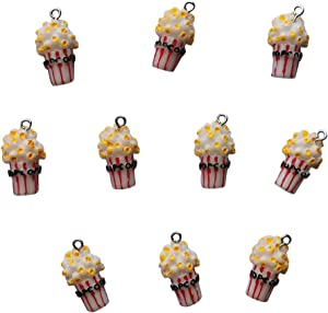 AMOBESTER Food Pendant Charms Popcorn for DIY Earring Bracelet Necklace Jewery Making