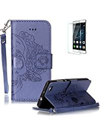 Huawei P8 Lite (2016 Model)Case [with Free Screen Protector] Funyye Solid color Stylish Lanyard Strap Scratch Resistant Premium Magnetic Detachable PU Leather Wallet Style Cover with [Credit Card Holder Slots] Full Body protection Ultra Thin Protective Case Cover for Huawei P8 Lite (2016 Model)-Skull Flower Blue