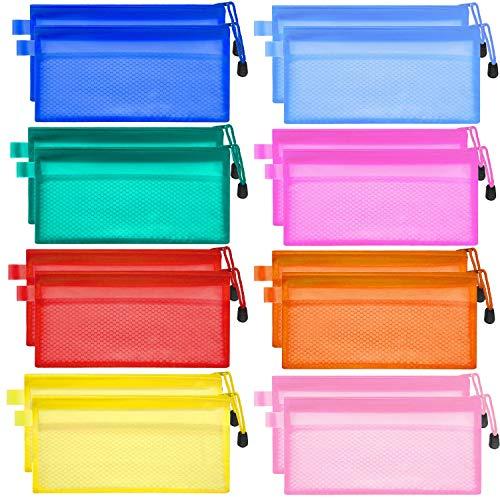 SIQUK 16 Pieces Plastic Zipper Pouch Waterproof Zipper Pencil Pouch 8 Colors Mesh Pouch Double Layer Zipper File Bags for Pen, Documents and Cosmetics Supplies Travel Accessories]()