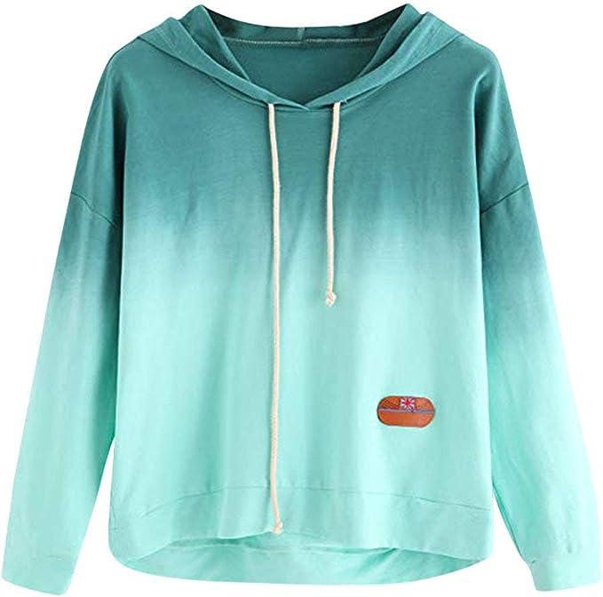 Fanteecy Fashion Women Tie Dye Printed Sweatshirt Colorblock Long Sleeve Hoodie Pullover Drawstring T Shirts Blouse