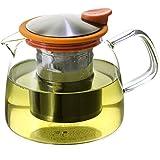 forlife teapot orange - FORLIFE Bell Glass Teapot with Basket Infuser, 24 oz./730 mL, Orange