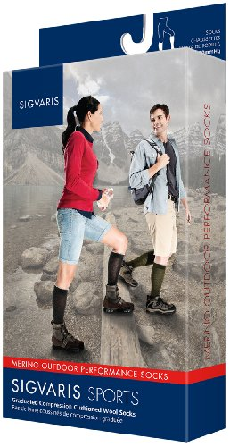 Price comparison product image Sigvaris Merino Outdoor Performance 422CSS12 20-30mmHg Closed Toe, Calf Socks - Charcoal, Sort Small
