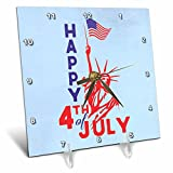 3dRose Andrea Haase Patriotic Art - America Patriotic 4th July Statue Of Liberty And Flag On Blue - 6x6 Desk Clock (dc_282606_1)