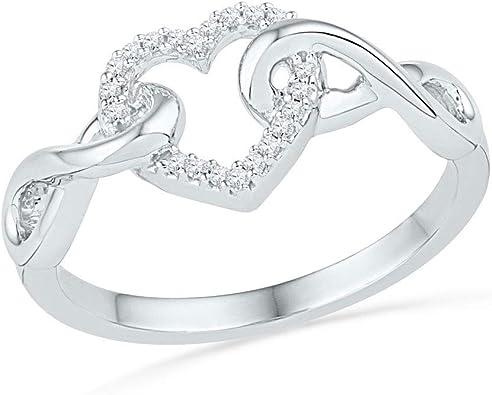 10KT Yellow Gold Round Black Diamond Infinity Ring 0.09 Cttw