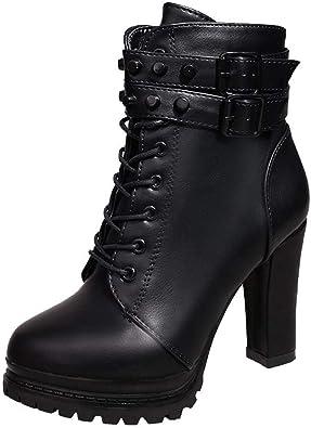 Logobeing Zapatos de Tacón Alto Botas Mujer Invierno Martain Boot ...