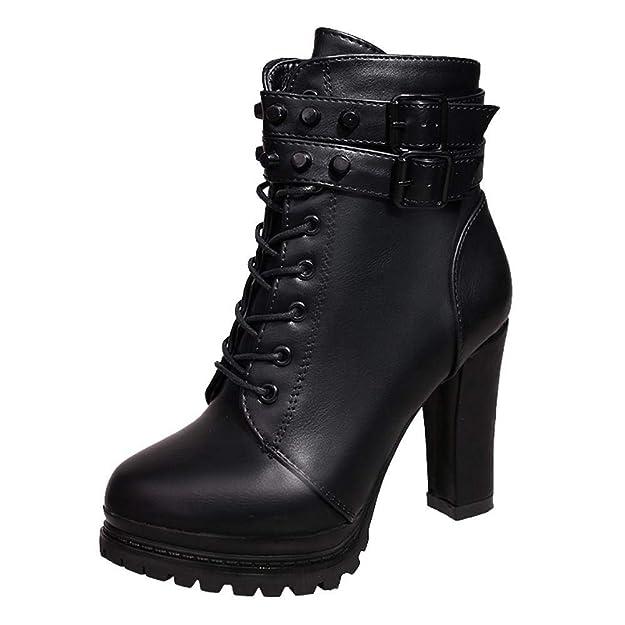 Logobeing Zapatos de Tacón Alto Botas Mujer Invierno Martain Boot Zapatos con Cordones de Cuero Botines Mujer Tacon Plataforma Zapatos: Amazon.es: Zapatos y ...