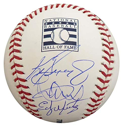 Ichiro Suzuki, Ken Griffey Jr. & Edgar Martinez Autographed Official MLB Hall Of Fame Logo Baseball Seattle Mariners, IS & MCS Holo LE #/24 Stock #149546 - Tristar Productions Certified