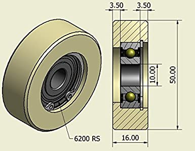 4 Lot de 4/ x 50/ mm de diam/ètre usin/é en nylon Roues fabriqu/é en Union Europ/éenne 10mm wide-10mm bearing
