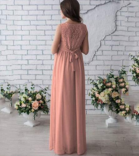 Maniche Elegante Fashion Saoye Senza Giovane In Maternità Colore Con Da Abito Maxi Patchwork Di Lunghe Pizzo Girocollo Pink Rosa Xrqwd7qv
