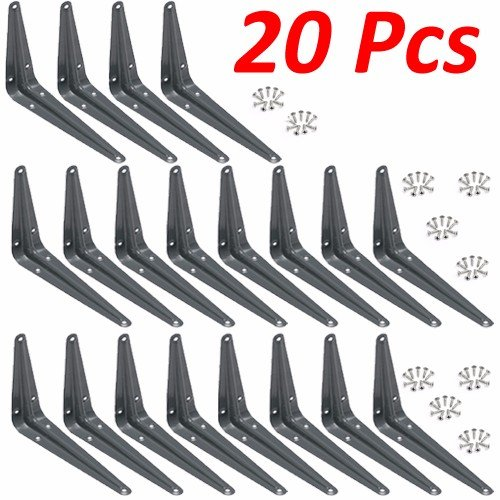 "Wideskall Metal Wall Corner Angle Shelving Shelf Brackets, Gray (20, 4"" x 5"" inch)"