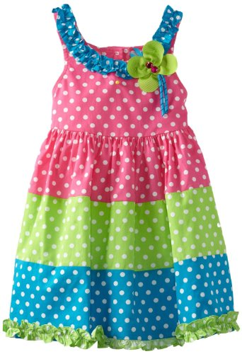 Colorblock Polka Dot Dress With Butterfly Applique 4T