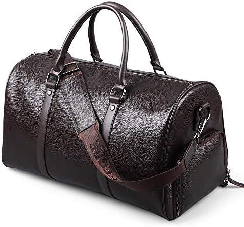 メンズ荷物袋 メンズミニマルファッションレザートラベルウィークエンダーボストンバッグ荷物のバッグは、バッグショルダーバッグトートバッグショルダーバッグキャリーオン 柔らかく快適な耐摩耗性 (色 : Black, Size : 44x19x26cm)