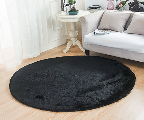 Bedroom-Rugs-MBIGM-Super-Soft-Modern-Circular-Living-Room-Rugs-Decorative-Shaggy-Floor-Round-Carpets-Play-Nursery-Rug-for-Bath-Rooms-Diameter-46-Feet-Black
