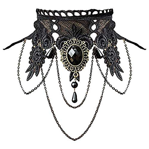 AILUOR Punk Rock Wedding Party Handmade Black Lace Choker, Gothic Retro Lolita Beads Chain Vampire Pendant Necklace for Women Halloween (Black-C)