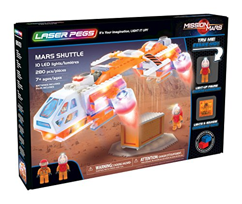 Laser Pegs Mars Shuttle Light-Up Building Block Playset (280 Piece) The First Lighted Construction Toy to Ignite Your Child's Creativity; It's Your Imagination, Light It Up