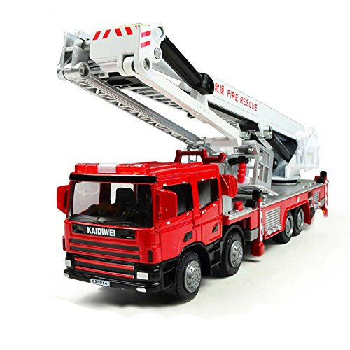 Die Cast Metal Truck (Lcyyo@ KAIDIWEI 1:50 Scale Alloy Platform Fire Engine Fire Fighting Truck Diecast Refined Metal Fire Vehicle Model Truck Toy Gift, Collection for Kids Adults (Red))