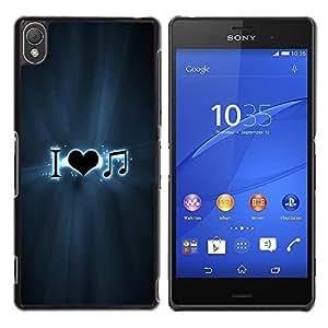 Be Good Phone Accessory // Dura Cáscara cubierta Protectora Caso Carcasa Funda de Protección para Sony Xperia Z3 D6603 / D6633 / D6643 / D6653 / D6616 // Love Music Musical Gray Note